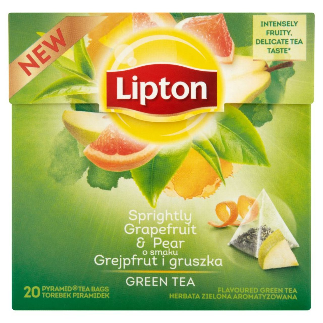 HERBATA LIPTON GREEN TEA GRAPEFRUIT&PEAR PIRAMIDKI 20TB