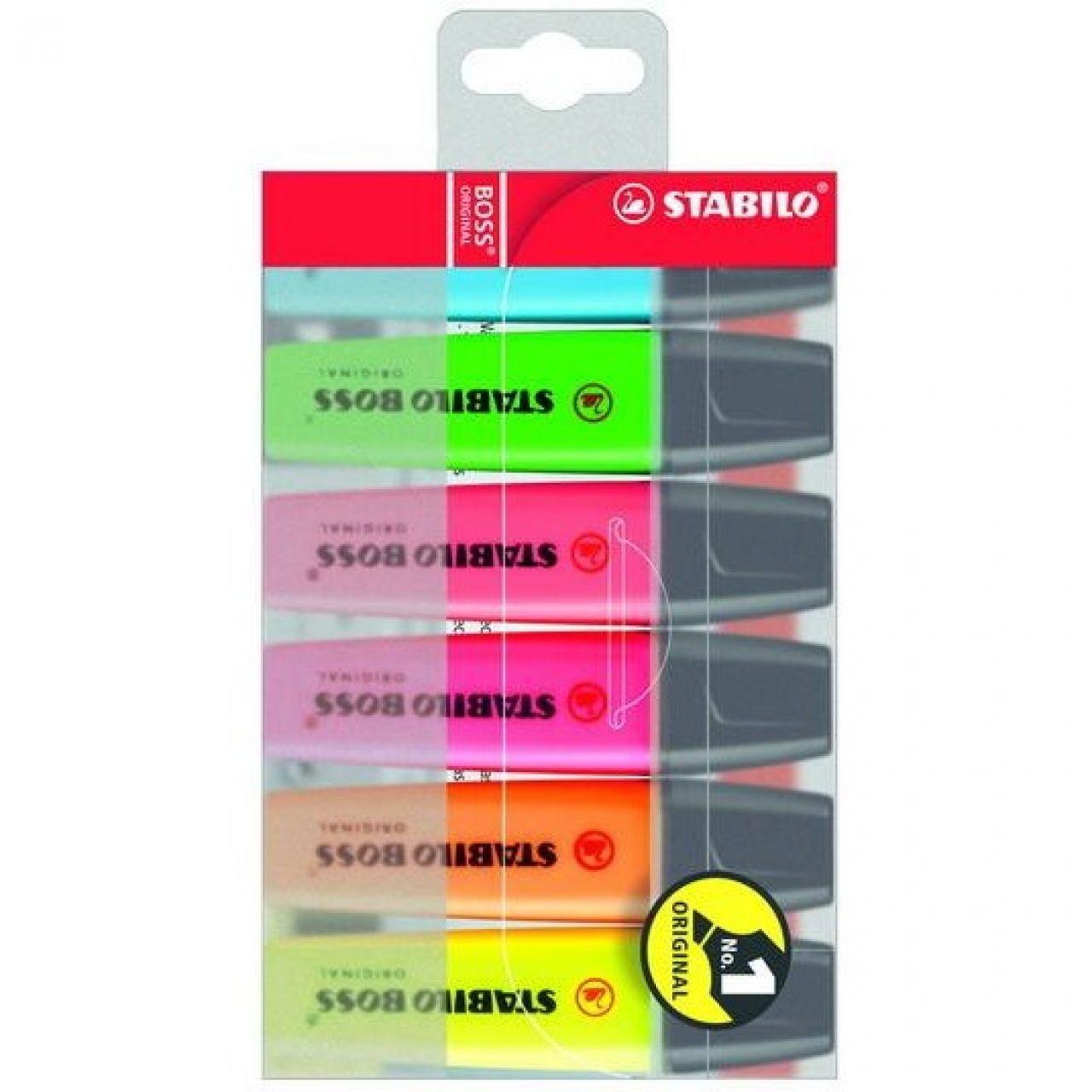 Zakreślacz STABILO BOSS fluorescencyjny zestwa 6 kolorów